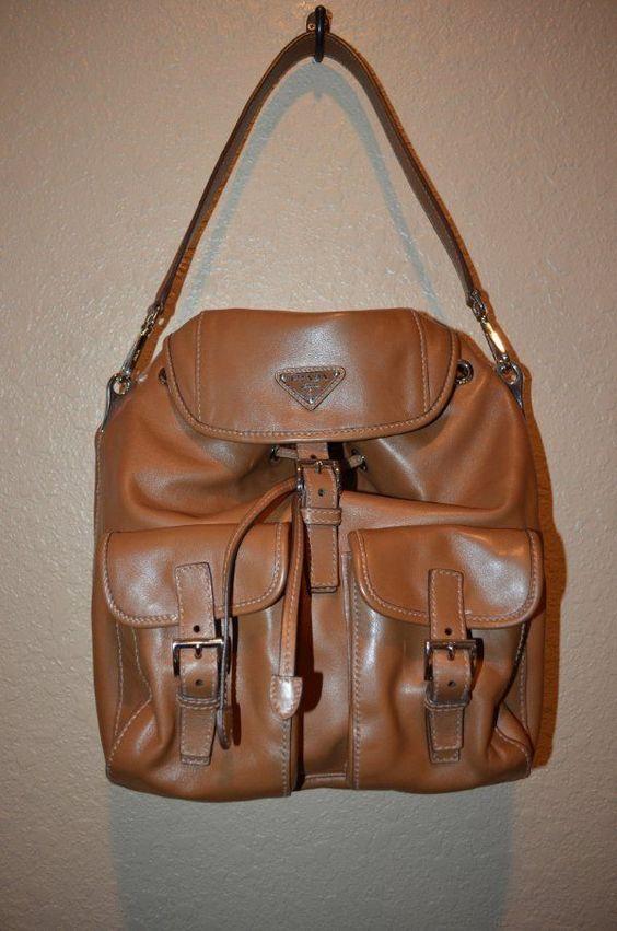 Prada Large Brown Soft Calf Cannella Double Pocket Shoulder Strap Handbag #PRADA #ShoulderBag