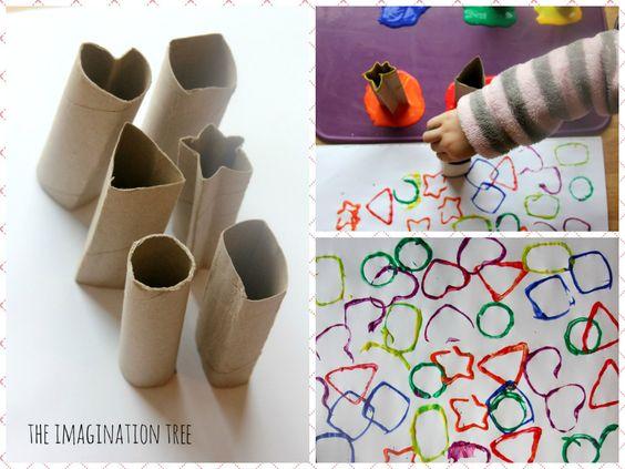 Una idea para reciclar cartón: pintura creativa con rollos de papel.  vía The Imagination Tree. ¡Feliz domingo!  #pinturacreativa #cardboardshapetubes http://fb.me/1rCpNPBre