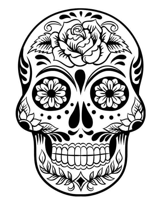 Printable day of the dead sugar skull coloring page 3 for Day of the dead skull coloring pages printable
