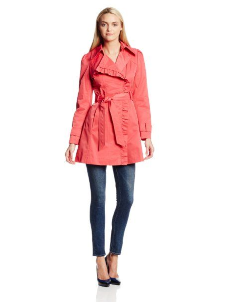 Amazon.com: Jessica Simpson Women's Belted Ruffle Trench Coat: Clothing (in blue & black too, but I love the coral!)