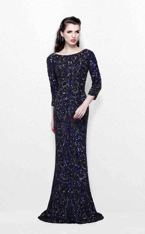 Primavera Couture - REGAL SEQUINED LONG SLEEVES BATEAU SHEATH GOWN 1747