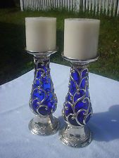 VINTAGE? COBALT BLUE GLASS & SILVERPLATE? GORGEOUS CANDLE HOLDERS TALL VINE DESIGN - 39.99 + 13.06