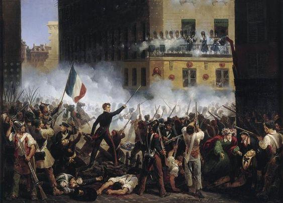 """Hippolyte Lecomte: """"Révolution de 1830 - Combat de la rue de Rohan """"- .1830. Musée Carnavalet, Paris."""