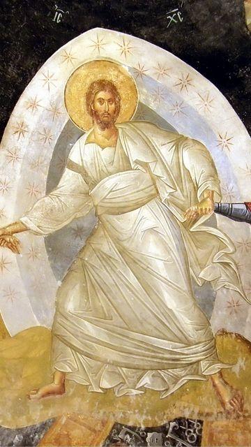 Icono de la Resurrección de Cristo, detalle