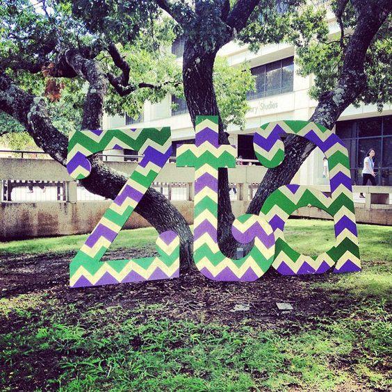 ZTA Mardi Gras Chevron Stripe letters for Bid Day!