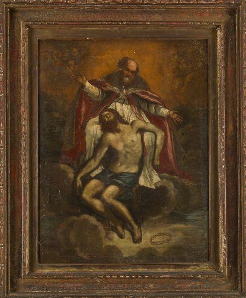Pintura sacra Barroca atribuido a escola italana de Guido Reni -( anos 1650 - 1750) 0,50 x 064