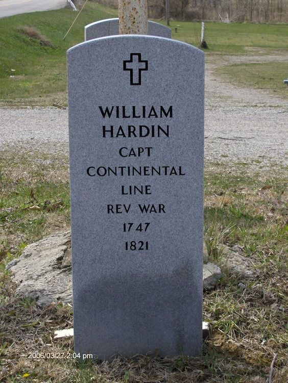 """Captain William """"Indian Bill"""" Hardin (1747-1821). Served as a private in the 3rd Virginia Regt of foot, 1778. He served in KY as well as IL. Revolutionary War Veteran, Pioneer, noted Indian fighter and founder of Hardinsburg, KY. According to his military records, he stood 6'4"""" and weighed 240 pounds."""