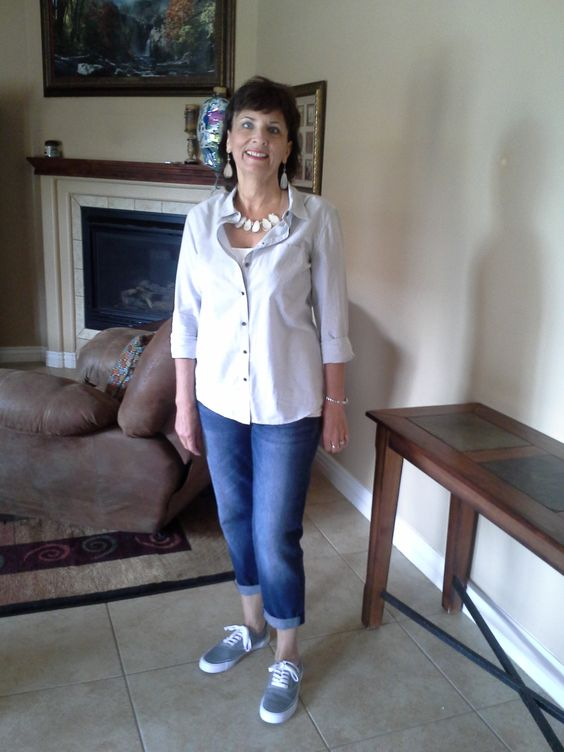 Before the Spring Style Me Challenge:  wore this to Paul's baseball game Saturday 4/12/2014...Old Navy skinny boyfriend jeans, Layla tennies from Target, gray striped button down from Target, statement necklace from Charming Charlie's, cami from SNUG.