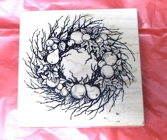 PSX K-1541 Fruit twigs wreath rubber stamp Vintage 1995 wood mounted berries leaves craft stamps Scrapbooking Card Making by NoodlesNotions on Etsy