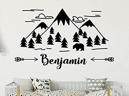 mountain wall art nursery decor boy mountain decal Name wall decal boy room decor mountain nursery boy name decal kids room decor
