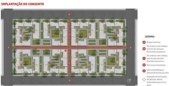 Implantação do conjunto no quarteirão, com a conformação de unidades habitacionais e espaços públicos
