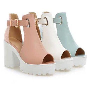 2015 nuevo llegada de la alta calidad mujer de zapatos de verano Sexy Peep Toe hebilla recortes sandalias con plataforma gruesa plataforma tacones altos 5