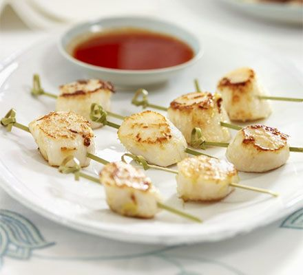 Seared scallops with sweet chilli sauce recipe skewers for Some canape picks