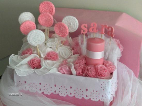 Centro decorativo ni a lana papel de seda vela papel de - Arreglos de mesa para cumpleanos de nina ...