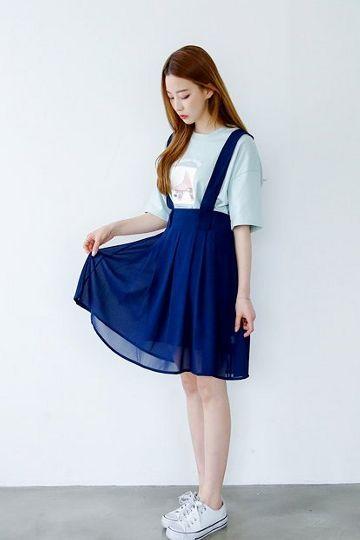 Chiffon Suspenders Skirt | Korean Fashion: