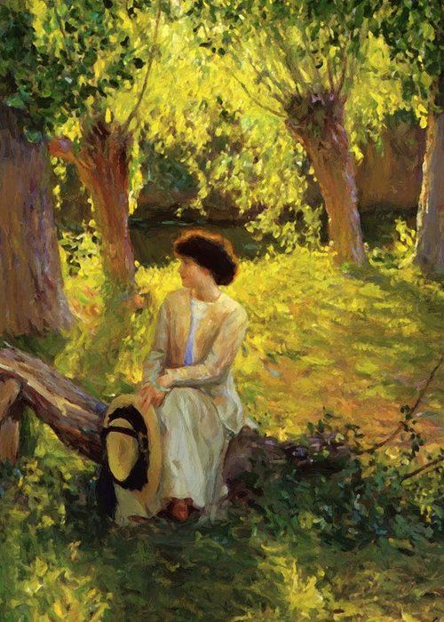 New Artwork For Sale Warm Afternoon 1910 Greeting Card By Guy