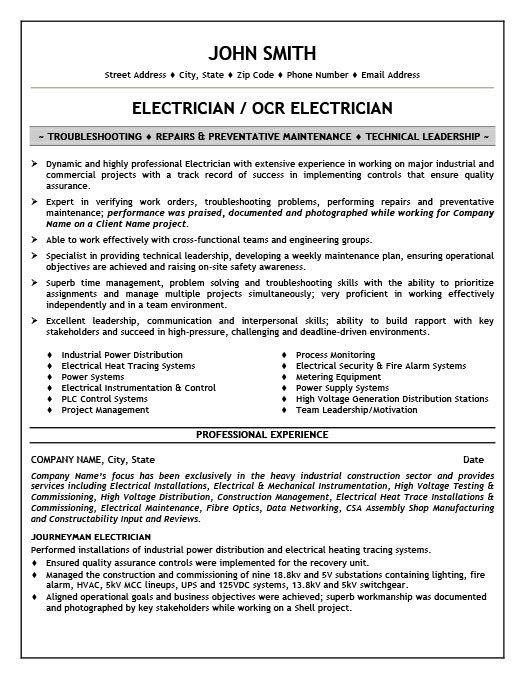 Electrician Resume Resume Template Resume Engineering Resume