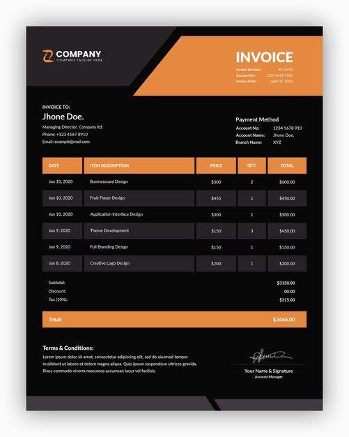 Minimal Corporate Dark With Orange Business Invoice Template Invoice Template Business Poster Templates