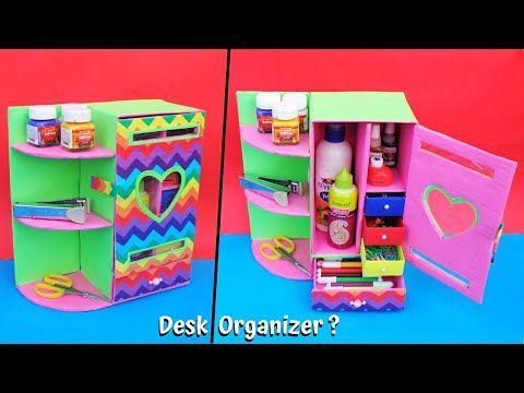Diy Desk Organizer Making With Waste Cardboards Best Out Of Waste Space Saving Craft Youtube In 2020 Desk Organization Diy Cardboard Box Crafts Diy Desk