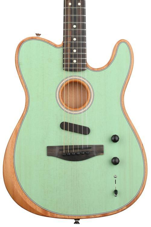 Fender Acoustasonic Telecaster Translucent Surf Green Guitar Acoustic Guitar Guitar Strings