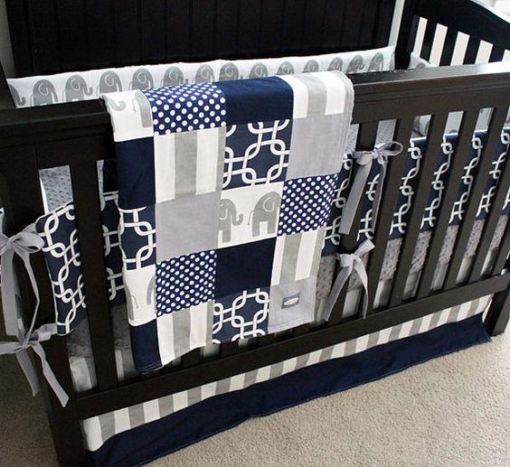 Custom Crib Bedding Navy Blue and Grey Elephant Baby