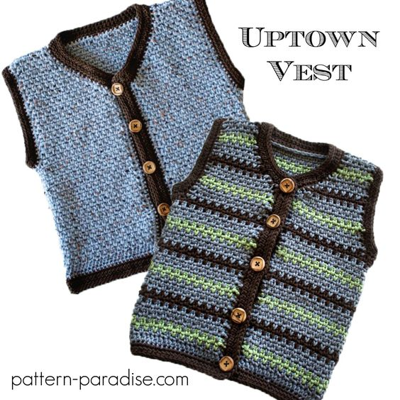 Crochet Patterns For Childrens Vests : Crochet pattern for kids vest, sizes 3 months to kids 10 ...