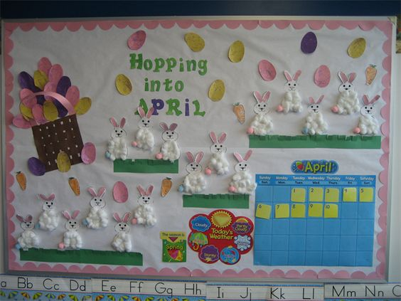 Calendar Ideas For April : Hopping into april bulletin board idea cute