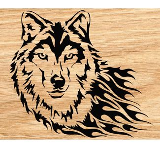 wood burning design templates - blazing wolf scrolled portrait art pattern wildlife