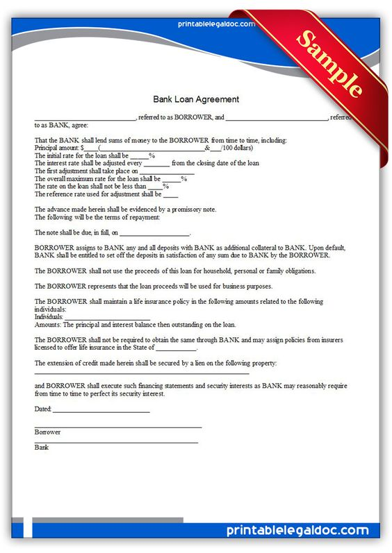 Bank Loan Agreement Mortgage Brokers Bank Loan Legal Forms