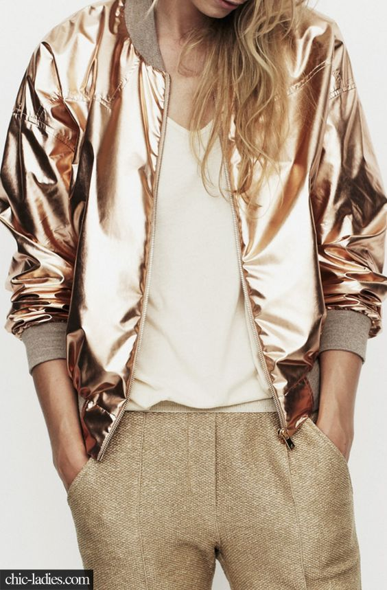 Gold Bomber Jacket. Metallic Outfit. | i would wear that