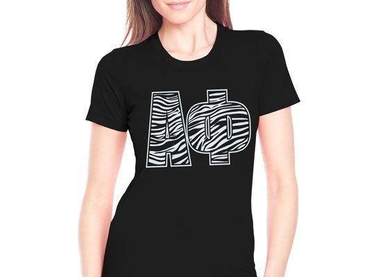 "Sorority Rush Shirts ""Zebra Letters"" Design #Greek #Sorority #Clothing #Recruitment #Rush"