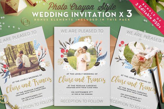 [-50%] Photo Crayon Wedding Invite I by The Wedding Shop on @creativemarket