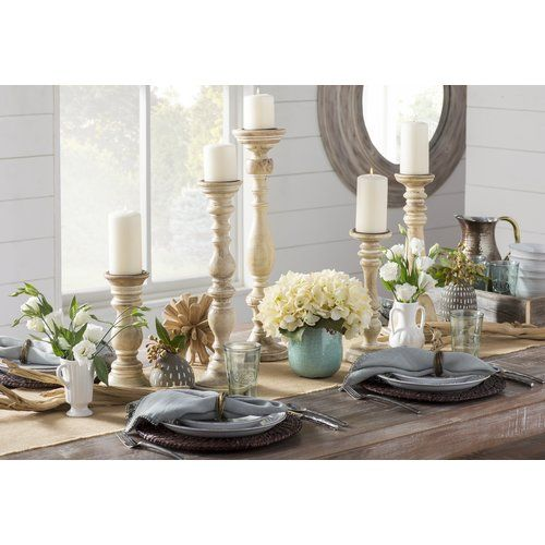 Ophelia Co 5 Piece Turned Candleholder Set Reviews Wayfair Dining Room Centerpiece Decor Wood Candle Sticks