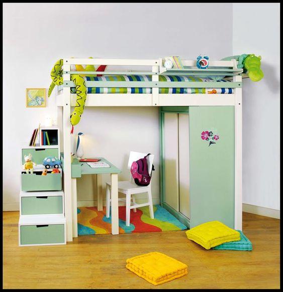 Lit mezzanine enfant avec bureau et rangements int gr s inspirations enfant - Lit avec rangements integres ...