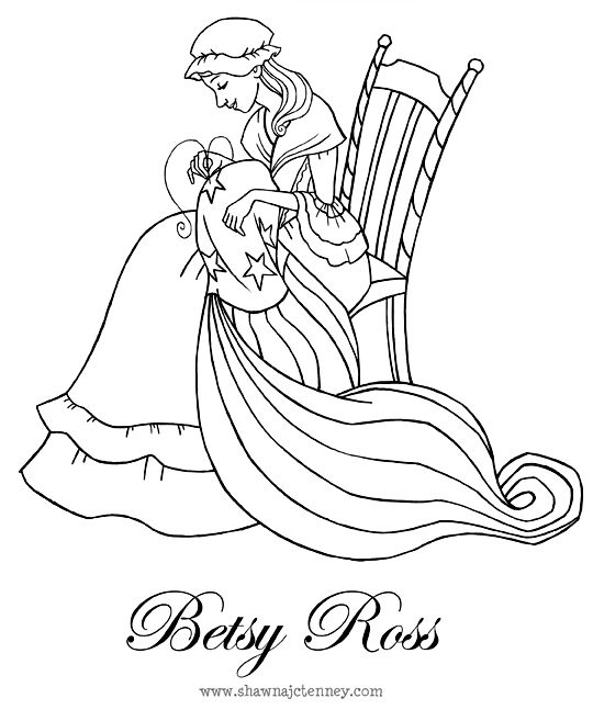 Betsy ross printable coloring pages ~ Shawna JC Tenney: Betsy Ross Coloring Page   Independence ...