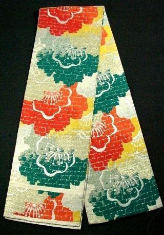 Taisho (1912-1925) plum blossom obi with brick pattern