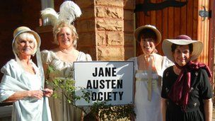 "This picture of South Carolina chapter of the Jane Austen Society of North America is from the BBC Article ""Lost in Austen"" . Our program director Andrea is a huge fan and wants to know why Jacksonville does not have a Jane Austen club!"