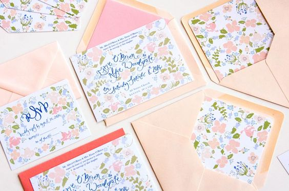 Hand lettered floral wedding stationery in blush and blues. Illustrated by Jessie Bayliss for Jolly Edition.