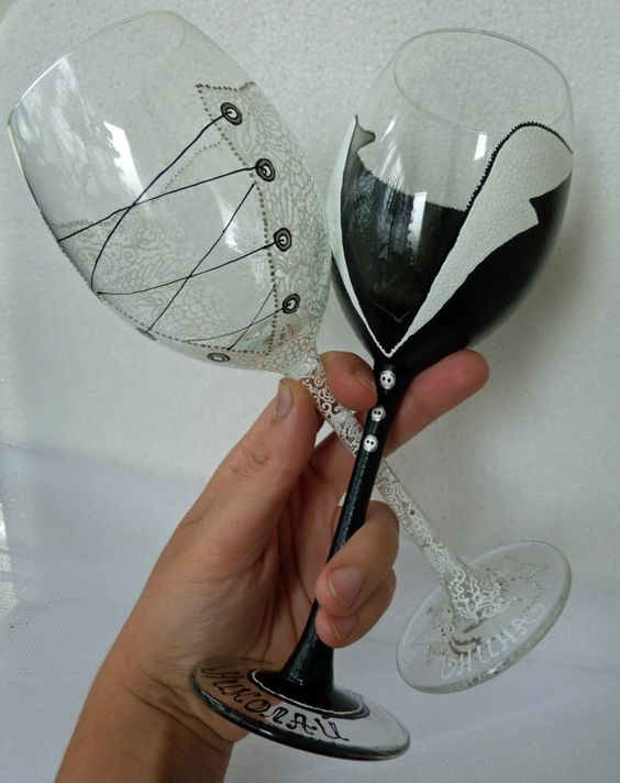 Hand painted Wedding Bridesmaids Wine Goblets by AlenaShop, $42.99 ...