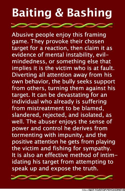 narcissistic personality disorder | Baiting & Bashing (B&B) | Psychopath ResistanceI SO TRUE...