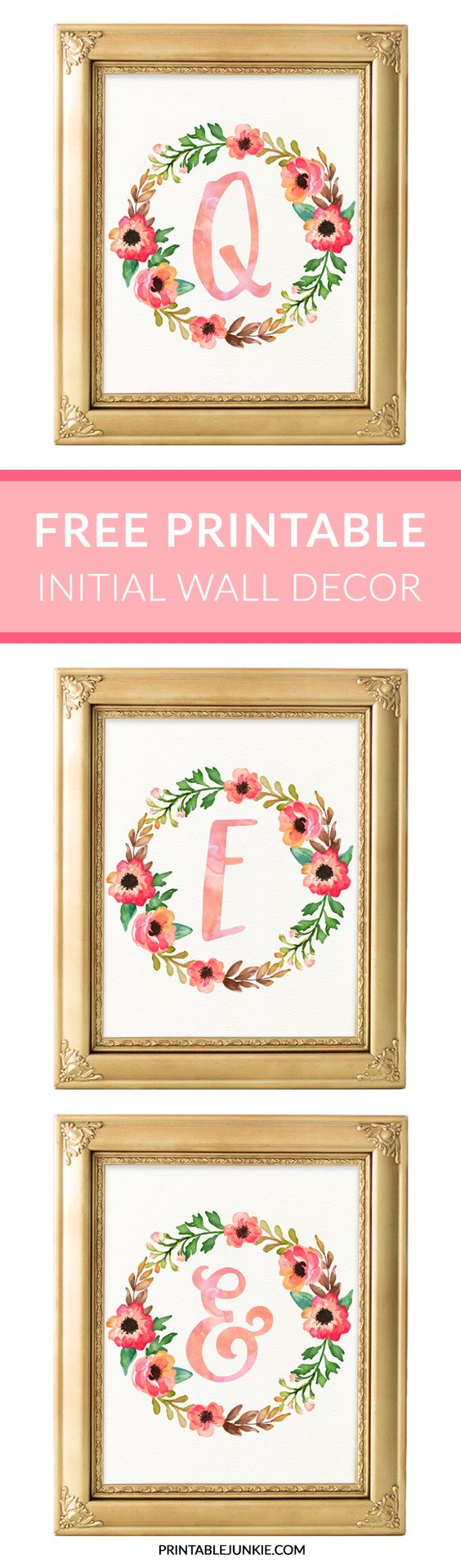 Initials surrounded with flowers - personalized printable for nurseries or bedrooms and they're free!