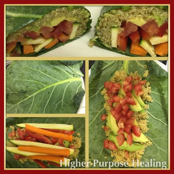 Collard Burrito w/ veggies, avocado, and quinoa.  www.higherpurposehealing.com