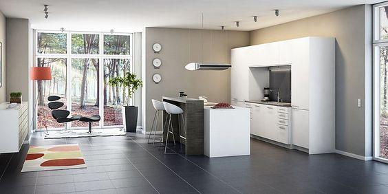 Moderne weiße Küche mit Insel und Sitzgelegenheit Home - küche mit insel