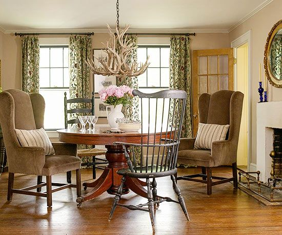 warm inviting dining room different types of chairs give the room