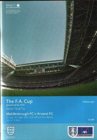 Arsenal Middlesbrough FA Cup Semi Programme 2001/2002 DOUBLE MINT