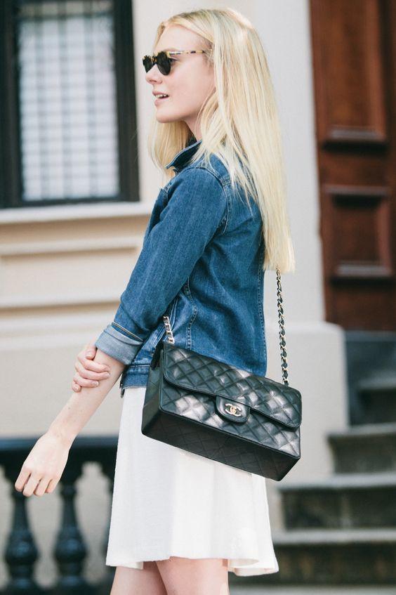 Denim jacket, white dress, and #Chanel cross body.