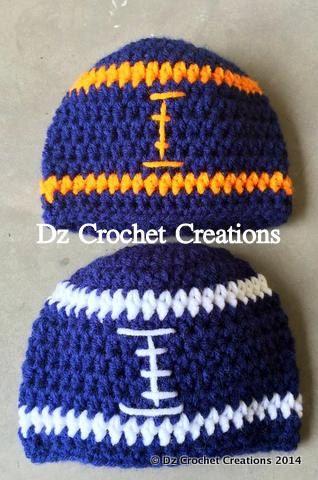 Crochet Photo Prop Football Beanie  03 Month  by HandMadeByDz, $13.00