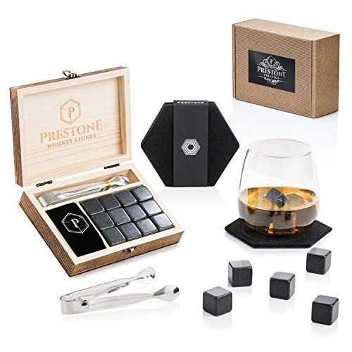 Premium Whiskey Stones Gift Set 12 Polished Granite Reusable Ice Cubes Complete Luxury Handcrafted Set 12 Stones Wood Wooden Boxes Velvet Bag Mens Gifts