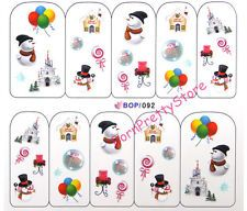 1Pc Christmas Snowman Ballon Lollipop Water Decals Nail Art Stickers Decoration