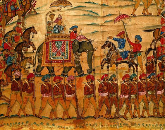 Resultado de imagem para Tipu Sultan, son of Haider Ali, on an elephant in a detail from 'The Battle of Pollilur', 1780